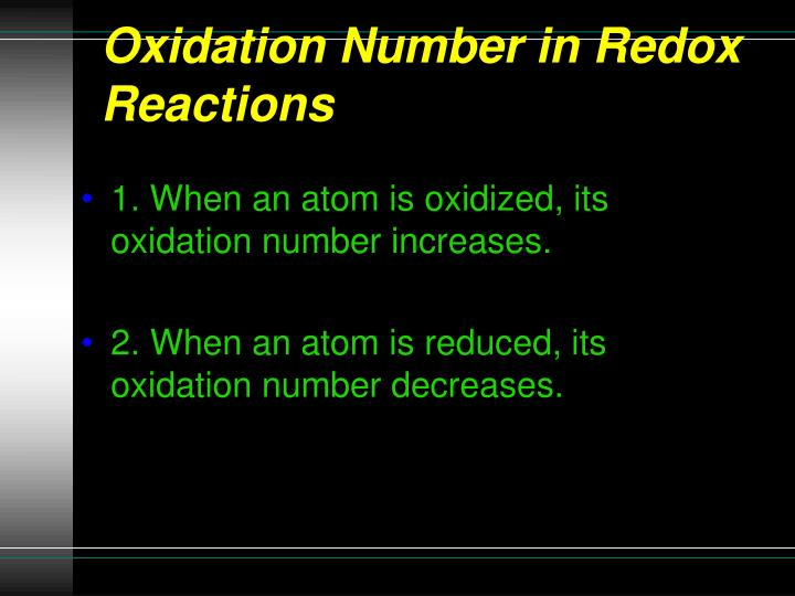 Oxidation Number in Redox Reactions