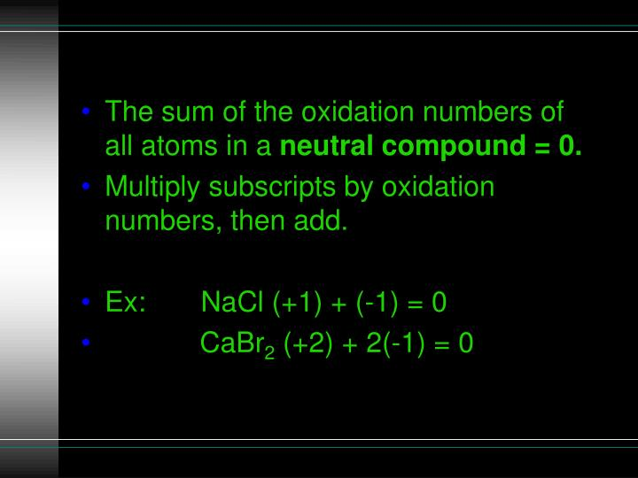 The sum of the oxidation numbers of all atoms