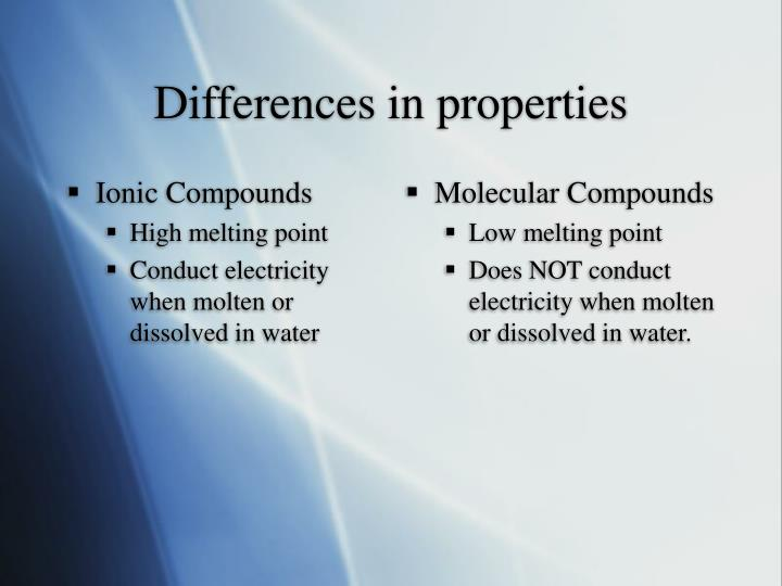 Differences in properties