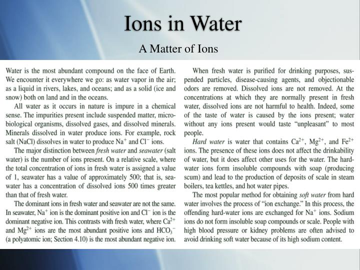 Ions in Water