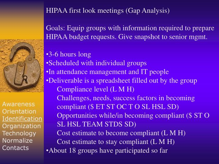 HIPAA first look meetings (Gap Analysis)