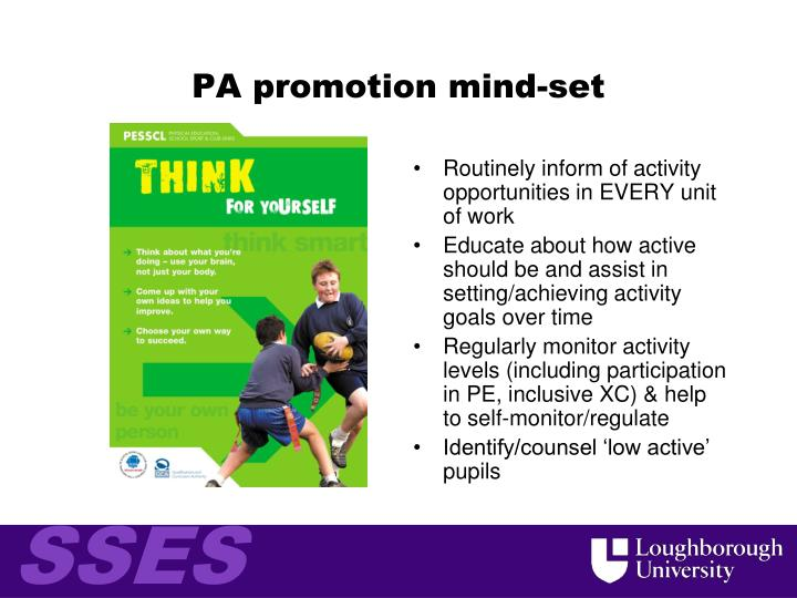 PA promotion mind-set