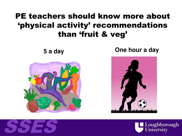 PE teachers should know more about 'physical activity' recommendations than 'fruit & veg'