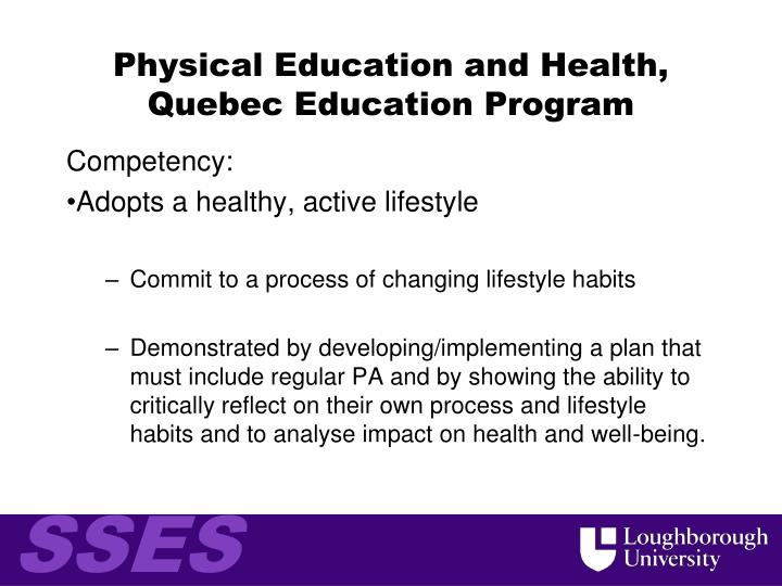 Physical Education and Health, Quebec Education Program