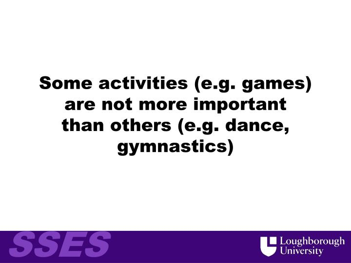 Some activities (e.g. games) are not more important