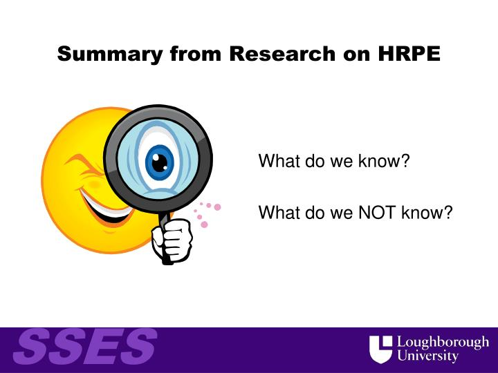 Summary from Research on HRPE