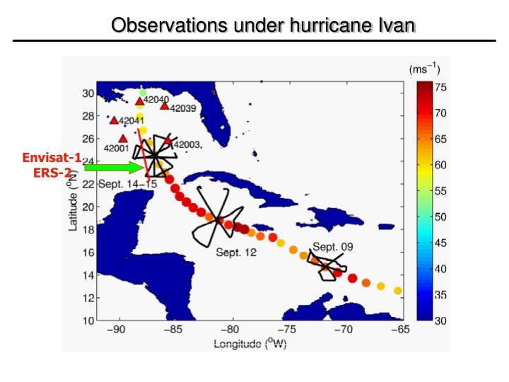 Observations under hurricane Ivan