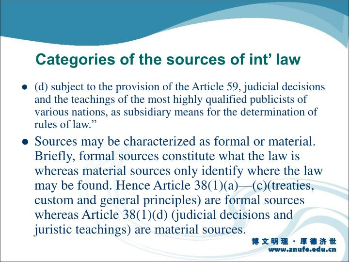 Categories of the sources of int' law