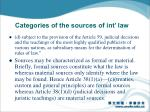 categories of the sources of int law1