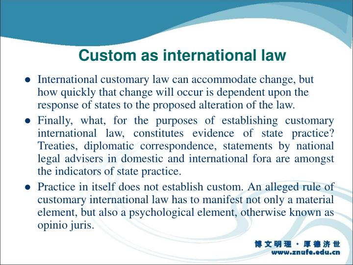 Custom as international law