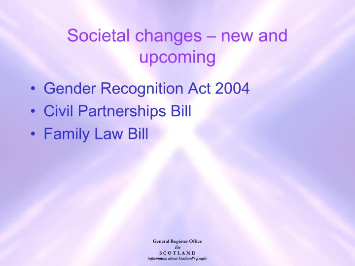 Societal changes – new and upcoming