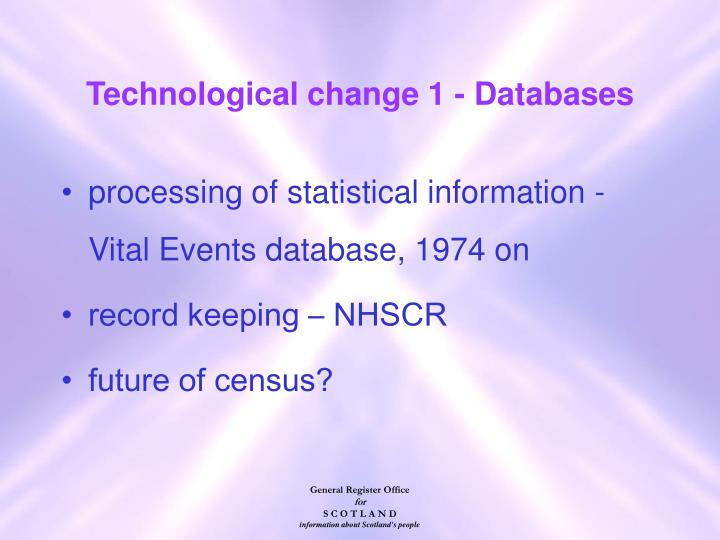 Technological change 1 - Databases