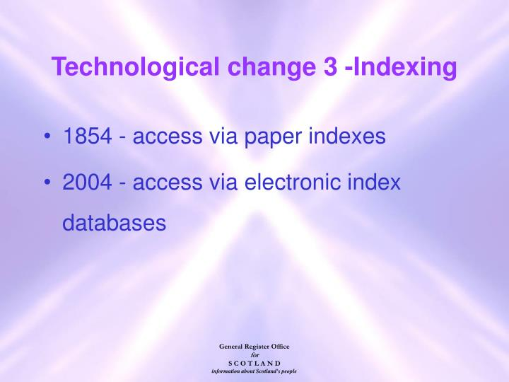 Technological change 3 -Indexing