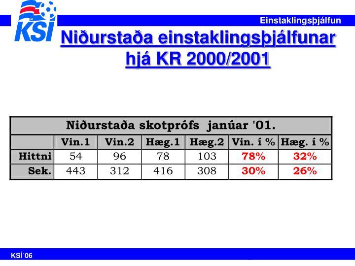 Niðurstaða einstaklingsþjálfunar hjá KR 2000/2001