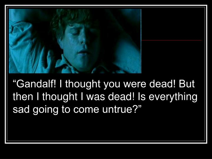 """""""Gandalf! I thought you were dead! But then I thought I was dead! Is everything sad going to come untrue?"""""""