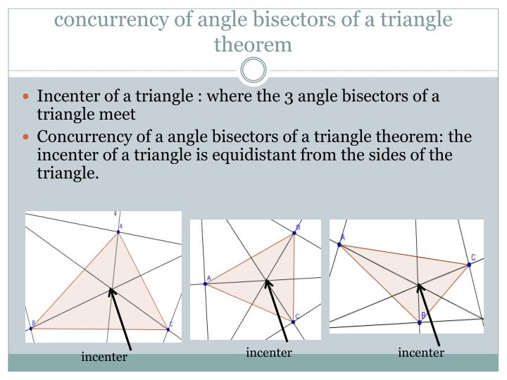 concurrency of angle bisectors of a triangle theorem