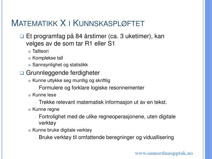 Matematikk X i