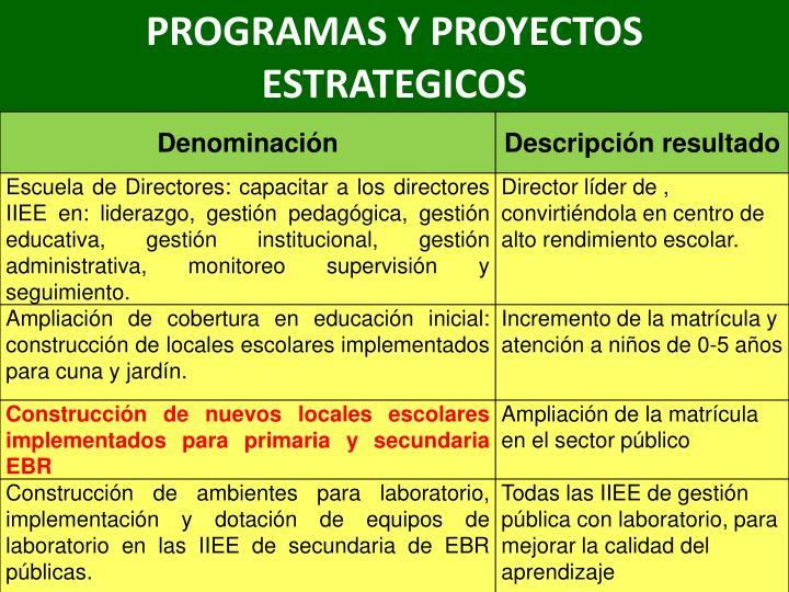PROGRAMAS Y PROYECTOS ESTRATEGICOS