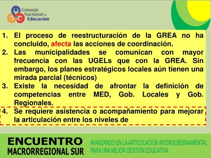 El proceso de reestructuración de la GREA no ha concluido,