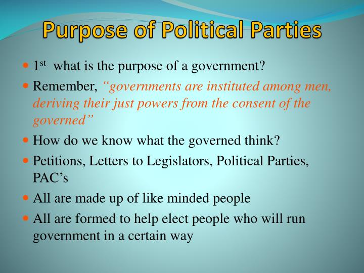 Purpose of Political Parties