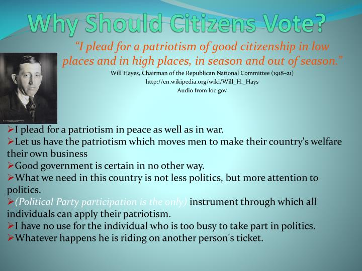 Why Should Citizens Vote?