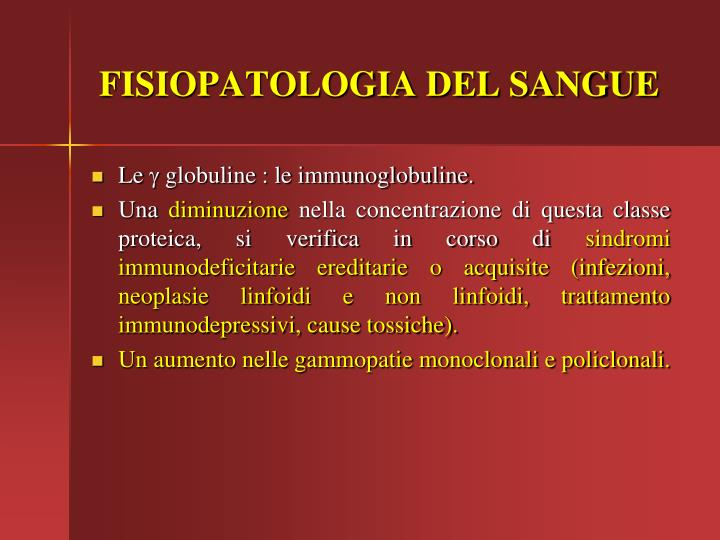 FISIOPATOLOGIA DEL SANGUE