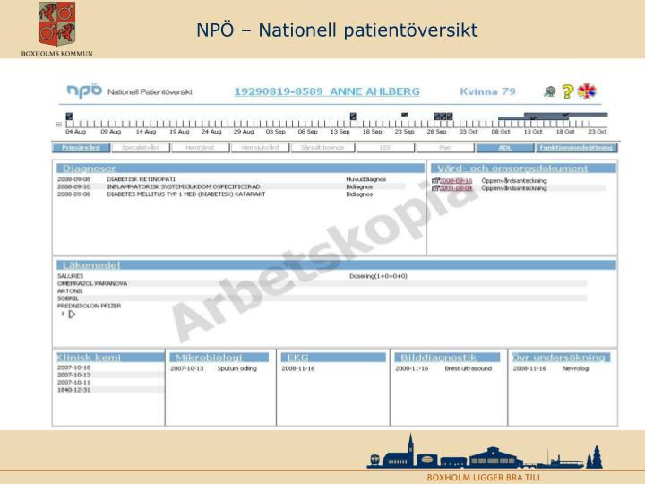 NPÖ – Nationell patientöversikt