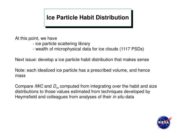 Ice Particle Habit Distribution