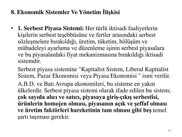 8. Ekonomik Sistemler Ve Yönetim İlişkisi