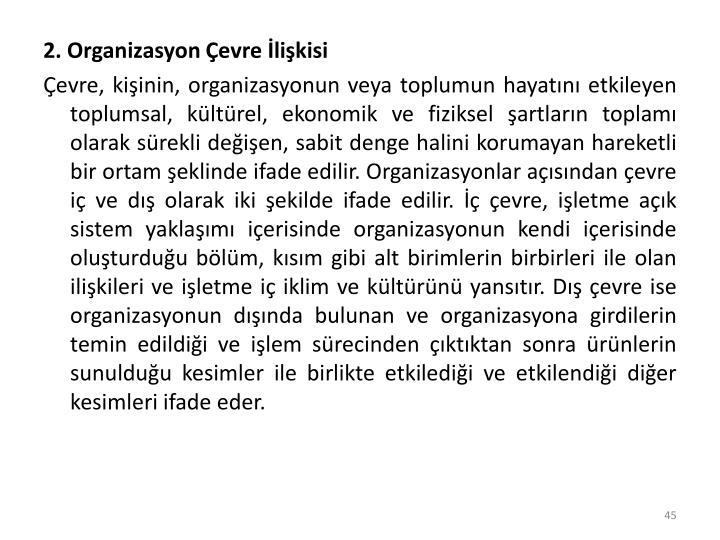 2. Organizasyon Çevre İlişkisi
