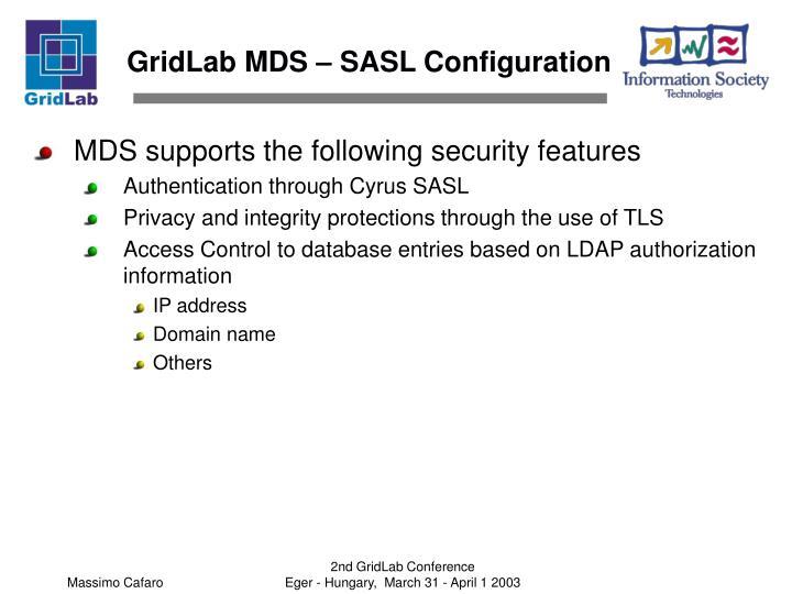 GridLab MDS – SASL Configuration