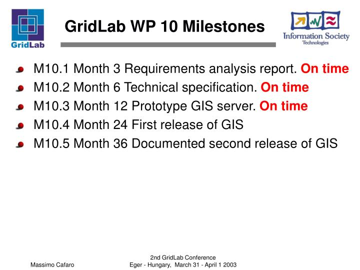GridLab WP 10 Milestones