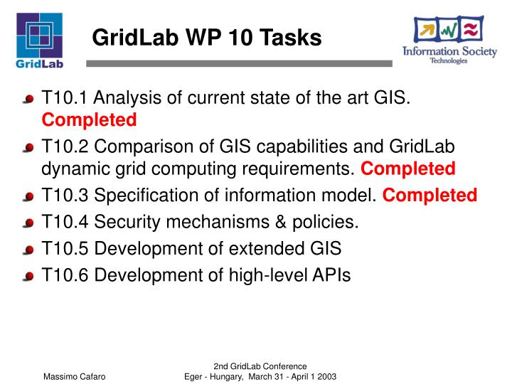 GridLab WP 10 Tasks
