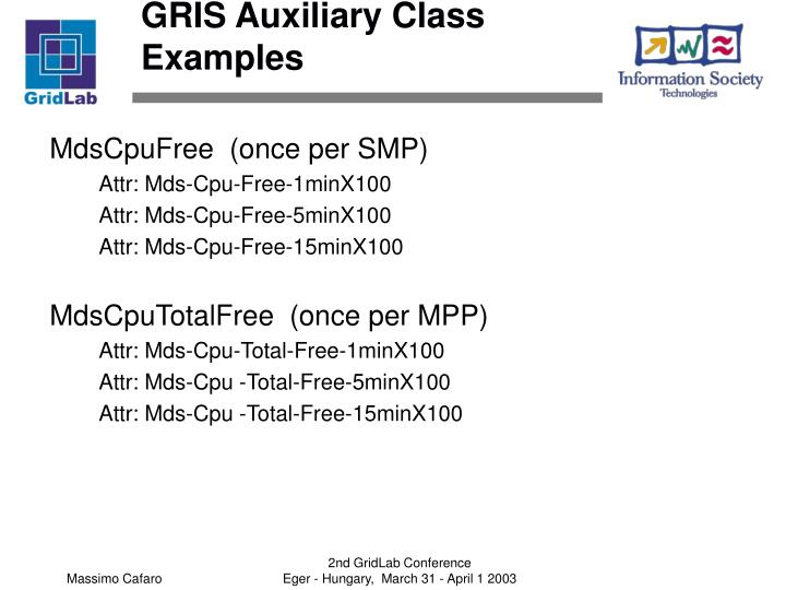 GRIS Auxiliary Class Examples
