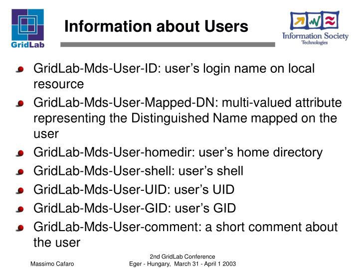 Information about Users