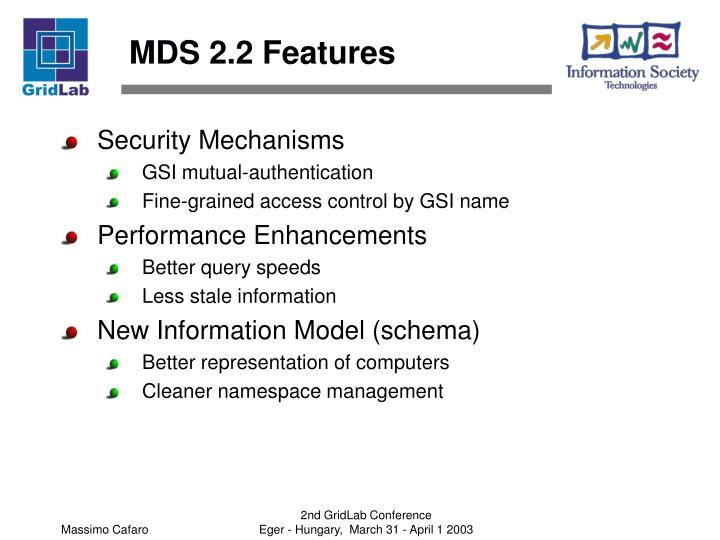 MDS 2.2 Features