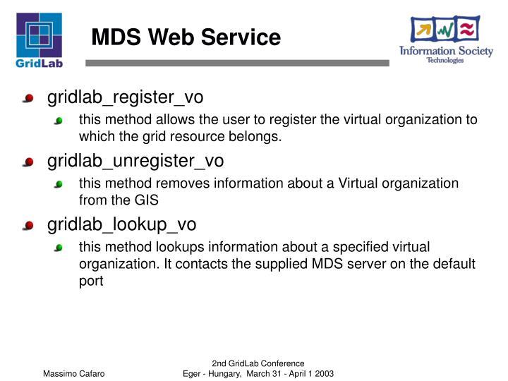 MDS Web Service