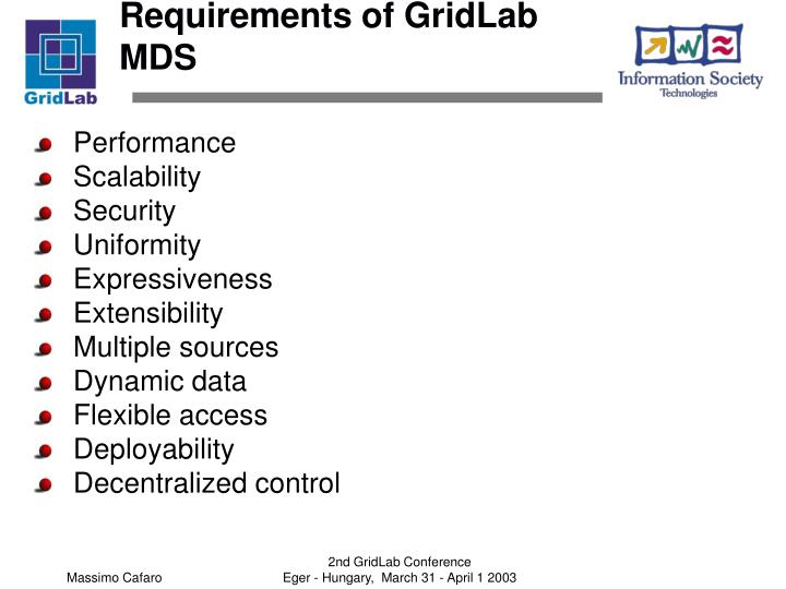Requirements of GridLab MDS