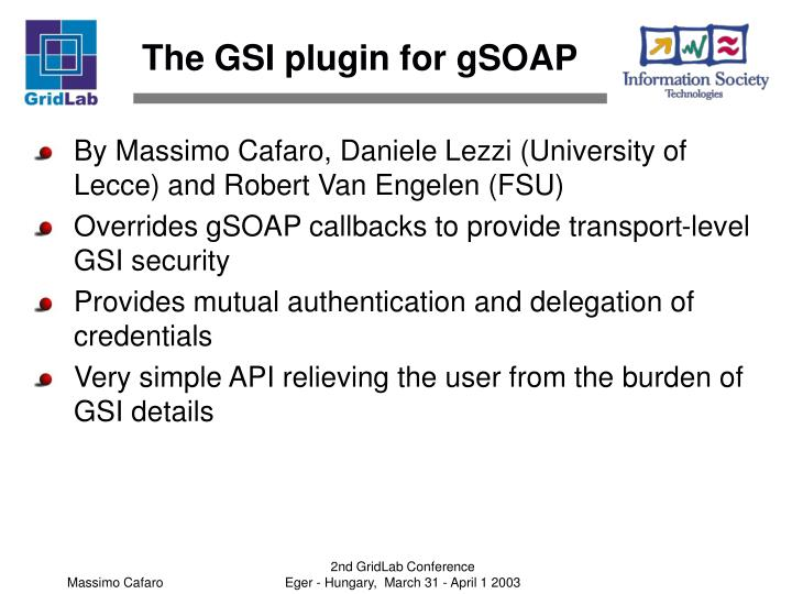 The GSI plugin for gSOAP