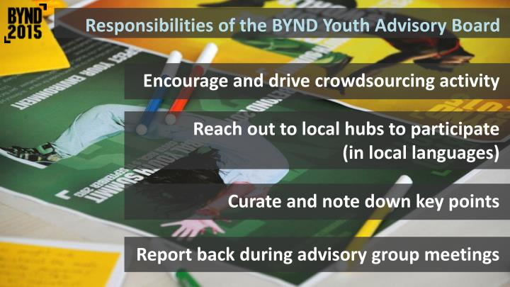Responsibilities of the BYND Youth Advisory Board