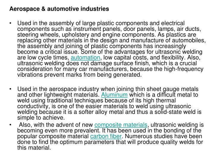 Aerospace & automotive industries