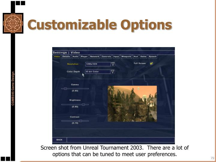 Customizable Options