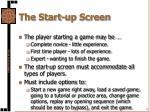 the start up screen