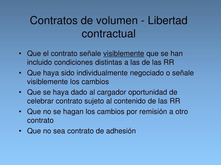 Contratos de volumen - Libertad contractual