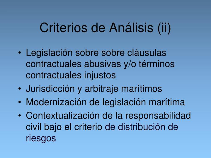 Criterios de Análisis (ii)