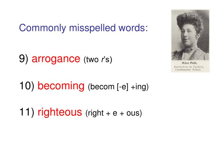 Commonly misspelled words:
