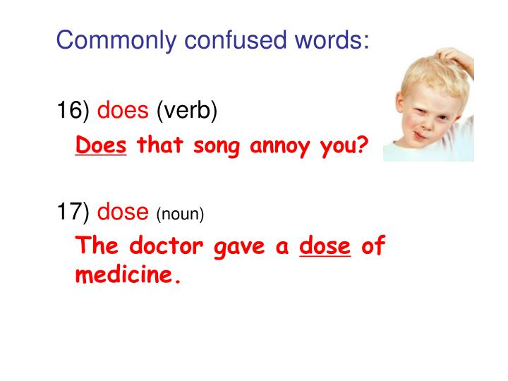 Commonly confused words: