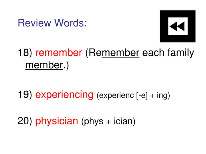Review Words: