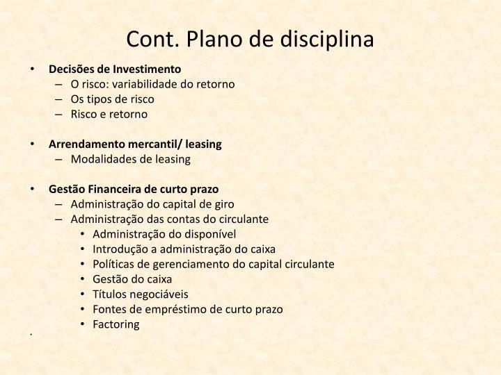Cont. Plano de disciplina