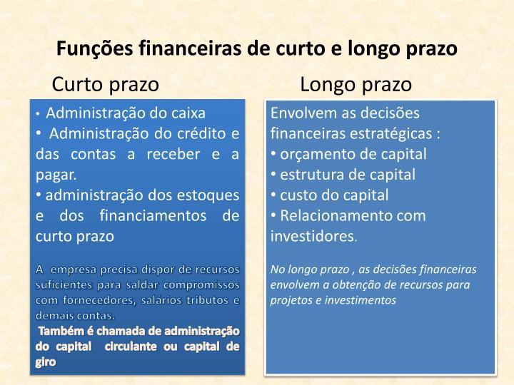 Funções financeiras de curto e longo prazo